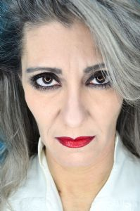 A portrait of grey hair model Valeria Sechi